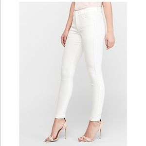 Mid Rise White Embroidered Ankle Skinny Jeans
